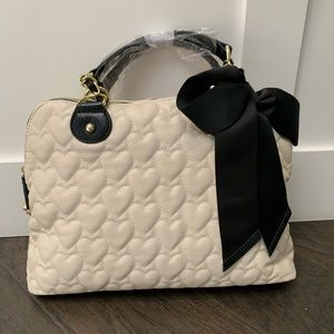 Betsey Johnson Mine Yours  Hearts Dome Satchel